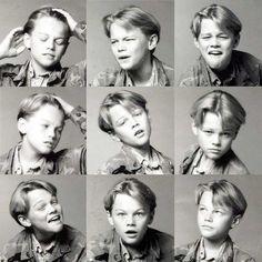A young Leonardo DiCaprio practising for future L'Oreal adverts...  #Funny #Random #LeonardoDiCaprio