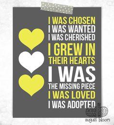 Adoption Print - I Was Chosen Print - Adoptive Mother Gift - Adoption Shower - Nursery Decor - Nursery Art on Etsy, $11.95