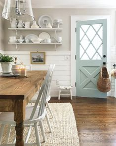 modern farmhouse dining room, neutral dining room, dining room decor with dining room table and chandelier Dining Room Colors, Dining Room Walls, Dining Room Design, Dining Room Shelves, Dining Decor, Kitchen Colors, Kitchen Decor, Neutral Dining Room Paint, Dining Furniture
