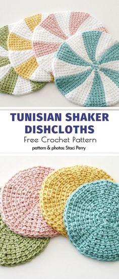 Tunisian Crochet Ideas Free Patterns Tunisian Shaker Dishcloths Free Crochet Pattern Learn the fact Crochet Round, Free Crochet, Crochet Coaster, Knit Crochet, Art Minecraft, Tunisian Crochet Patterns, Crochet Dishcloths Free Patterns, Tunisian Crochet Blanket, Crocheting Patterns