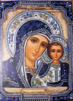 Our Lady of Kazan Divine Mother, Blessed Mother Mary, Blessed Virgin Mary, Religious Pictures, Religious Icons, Religious Art, Images Of Mary, Christian Artwork, Mama Mary