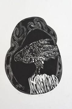 Charlotte Graham Woodcut - Kahu Maori People, Year 9, Mark Making, Plexus Products, Printmaking, Graham, Stencils, Charlotte, Birds