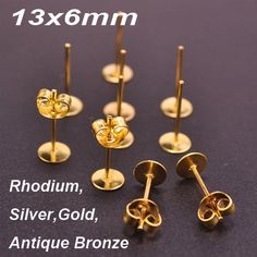 40 Antique Bronze Flat Pad Stud Earring Findings With 6mm Round Setting /& Backs
