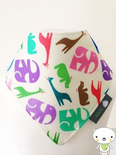 HANDMADE BELLAOSKI Baby Bandana Dribble Bib in Multi Coloured JUNGLE Fabric IDEAL GIFT £4.50