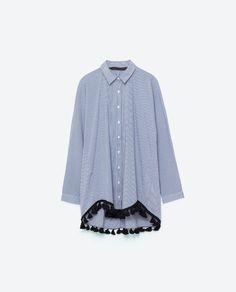 Image 8 of POPLIN SHIRT WITH POMPOMS from Zara