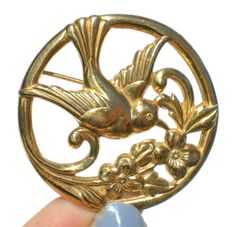 Coro Sterling Bird Brooch with Gold Washed Swallow by RibbonsEdge
