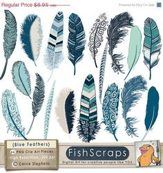 Ocean Blue Feather Clip Art, Feather ClipArt, Feather Graphics for Commercial or Personal Use - Indigo Blue, Summer.