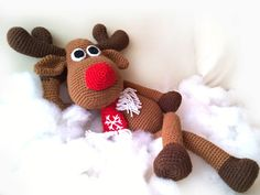 Stuffed Animals Christmas Reindeer Crochet Rudolph plush