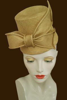 Pale mustard yellow straw parasisal torque flowerpot percher vintage style hat by sarasewsvintage on Etsy
