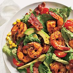 Typical Cobb salads include chicken and hard-cooked eggs; this riff uses shrimp and corn.