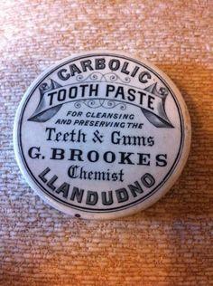 Rare G. Brookes Chemist Llandudno Victorian Antique Carbolic Toothpaste Pot Lid
