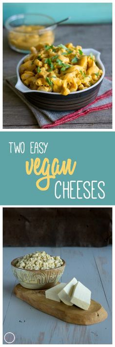 "Two easy vegan cheeses. Herbed Tofu Feta and Creamy Chia ""Cheddar"" Cheese. Recipes by An Unrefined Vegan."