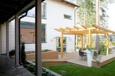 Honka Rock is an urban log home located in a densely populated area, designed for quality living in a sustainable way. Garden Living, Log Homes, Interior And Exterior, Sustainability, Pergola, Rock, Outdoor Structures, Urban, Building