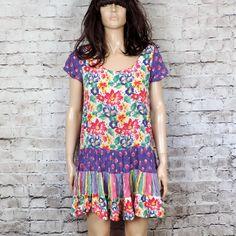 90's Rayon Floral Babydoll Dress/ 1990s Vintage by poetryforjane, $26.00