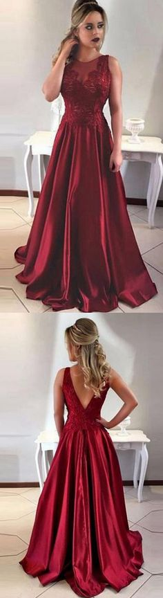 elegant burgundy prom dress with lace appliques, fashion A-line jewel party dress with lace