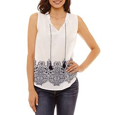 bab1a140ff3 Liz Claiborne Sleeveless Tie Front Tank Top Petites JCPenney