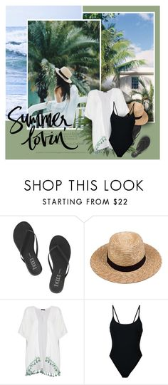 """""""Summer Lovin'"""" by anna-nemesis ❤ liked on Polyvore featuring India Hicks, Tkees, Lack of Color, Boohoo, Alix, swimwear, kimono and summer2017"""