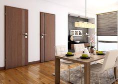 Laminované dveře ELISTA    Elegantního vzhledu dveří Elista je docíleno unikátním použitím hliníkových lišt nebo skla v celé výšce dveří. Doporučujeme bezfalcové provedení Teak, Divider, Room, Furniture, Home Decor, Dining Room, Luxury, Bedroom, Decoration Home
