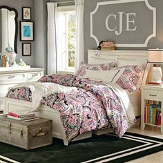 Girl Teen Room Delectable Teen Girl's Room  Gray Striped Walls Black And White Bedding Inspiration
