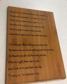 does your little miss or mr have an awesome carer that means a lot to them? This little poem sums it up Wooden Height Chart, Australian Gifts, You Are Important, Wipe Away, Little Miss, Online Gifts, Bamboo Cutting Board, Poem, Charts