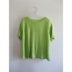 Vintage Lime Green Solid Butterfly Ribbed Knitted Short Sleeve Thin Crewneck Sweater Top Sz 18/20W Plus Size