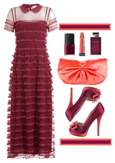 """Raspberry"" by paperdollsq ❤ liked on Polyvore featuring RED Valentino, Fendi, Yves Saint Laurent, NARS Cosmetics, Dolce&Gabbana and Almay"