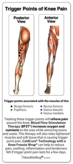 Knee Pain: knee trigger points including biceps femoris, popliteus tendon, rectus femoris, vastus lateralis, vastus medialis Source by. Acupuncture, Biceps, Health And Wellness, Health Fitness, Trigger Point Therapy, Knee Pain Relief, Knee Exercises, Stretches, Medical