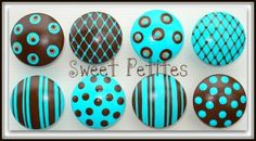 Hand Painted Knob Dresser Drawer Turquoise and Espresso Polka Dots Stripes by ana9112