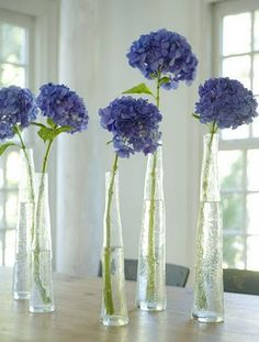 tall bottles with blue hydrangea...could be modern, rustic, or vintage, depending on how you present them.