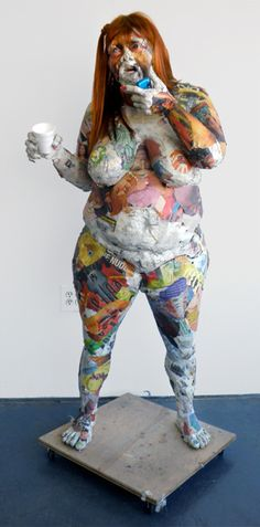 Will Kurtz's life size figural sculptures constructed of collaged torn sheets of newspaper, wood, wire, screws, tape and everyday objects depict the characters captured by Kurtz's iPhone camera lens.