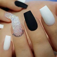 Images Of Nail Designs For New Years. Great-looking nail art is not only regardi… Images Of Nail Designs For New Years. Great-looking nail art is not only regarding the pattern but additionally about preparing. Black Acrylic Nails, White Coffin Nails, Best Acrylic Nails, Matte Nails, Acrylic Nails Coffin Classy, Glitter Nails, Acrylic Nails Coffin Short, Colored Acrylic Nails, Sugar Glitter
