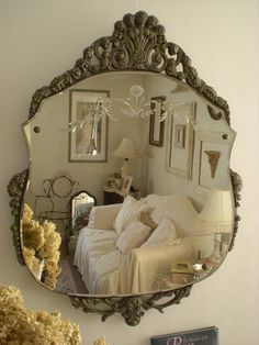 love the vintage etched mirror - and the living room reflected in it ( by Romantic Vintage Home)