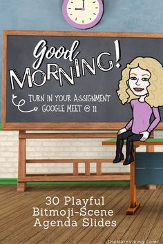 Beautiful, playful and fully editable Daily Agenda Slides for distance learning or for your responsive classroom! Morning message, to do list, notes, agendas. Add your own Bitmoji! Use for any grade and any class. High School Classroom, Flipped Classroom, New Classroom, Google Classroom, Classroom Resources, Classroom Libraries, Classroom Rules, Classroom Community, Classroom Themes