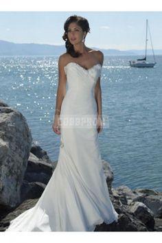 Mermaid Chiffon Sweetheart Beading Asymmetrical Ruching Wedding Dress