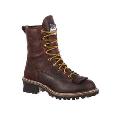 "Georgia Boot G7313 Steel Toe Waterproof 8"" Logger Boot Right View from Onlineworkboots.com"