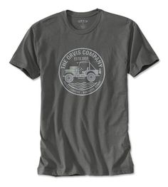 The spirit of exploration inspired the graphic on our comfortable, cotton tee. The classic Jeep depicted is similar to the one our own Perk Perkins drove around the world. In heavy metal. Pure cotton. Washable. Imported.  <br />Sizes M(38-40), L(42-44), XL(46-48), XXL(50-52).