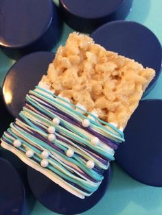 12 Teal Mint Navy Royal Purple Pearl Chocolate Covered Rice Crispy Krispie Treats Wedding Baby Bridal Birthday Party Treats