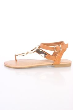 Camel High Polish Accent Summer Cute Casual Sandals Faux Leather