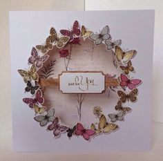 Card designed by Julie Hickey using Botanica collection Butterfly Cards, Flower Cards, Card Making Inspiration, Making Ideas, Origami, Craftwork Cards, Fancy Fold Cards, Scrapbook Cards, Scrapbooking