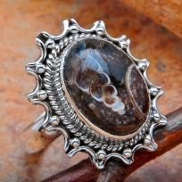 EXTRAORDINARY RARE 5.5 CTW TURITELLA AGATE RING~SOLID 925 SS~SZ. 5.5~SALE! WOW!