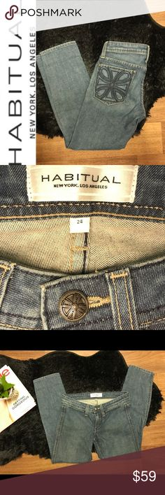Habitual Denim Skinny Jeans Size 24 The wash on these jeans is Down Home Measurements: Inseam: 25 1/4in Rise: 6 3/4in Ankle opening width: 5 1/2   Material:  98% Cotton 2% PU Where it's Made: This lovely item is made in The USA 🇺🇸   Condition: This item is Preloved ❤️ EUC  Please see all photos and use zoom feature, as they are used as part of item description. All measurements are Approx. Check out the rest of my closet and feel free to ask questions! Happy Poshing! Habitual Jeans Skinny