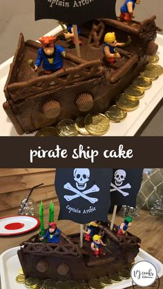 This pirate cake turned out so well, I used Curly Wurlys, Rolos and chocolate coins to decorate it. For the flags I made a design on the computer, printed it, then spray glued the sheets together and cut a wavy flag shape into each one. Easy Pirate Cake, Pirate Birthday Cake, Pirate Ship Cakes, 4th Birthday Cakes, Pirate Boat Cake, Chocolate Birthday Cake Kids, Camping Birthday Cake, Pirate Food, Birthday Cakes