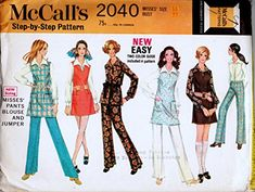 McCalls 2040 Misses Easy Pants, Top and Jumper Sewing Pattern Check Offers for Size McCall's Mccalls Patterns, Sewing Patterns, Color Patterns, Jumper, 1960s, Blouse, Pants, Vintage, Tops