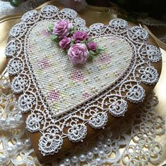 A grandmother's heart, piped crochet and needlepoint lace, pink roses, by Teri Pringle Wood