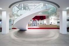 Helical stairs, sometimes referred to as curved stairs, lead you upstairs in an flowing arc. This makes these stairs ideal for retail, showroom,s and other p...