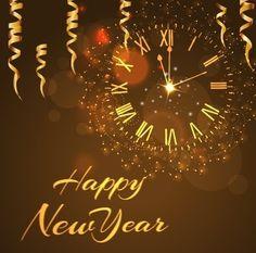 Happy New Year Golden Elements Background Vector