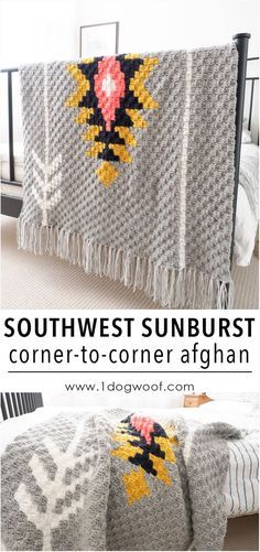 Southwest Sunburst c2c crochet afghan, using Lion Brand Vanna's Choice yarn. Free graph and instructions included!
