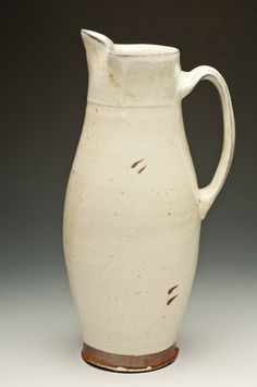 Tall pitcher / white salt glaze-Laura Ross