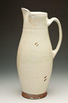 Tall pitcher / white salt glaze-Laura Ross
