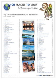A1 Poster HALF PRICE Only £0.50 (file only)  Download 300dpi (Print Quality) PDF    547mm x 841mm    Top 100 places to visit before you die checklist.        Print it off youself      Send the file to professional printers      Put it on a T-Shirt      Make it into a magnet and stick it to your fridge.    http://www.100placestovisit.com/top-100-places-to-visit-before-you-die-list/
